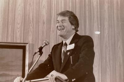 Lute Olson and Hayden Fry speak at I-Club event May 7, 1979