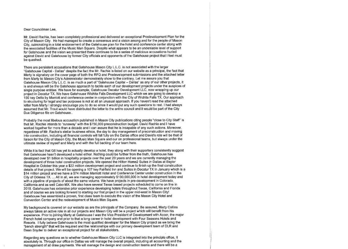 Letter to John Lee from Gatehouse Capital