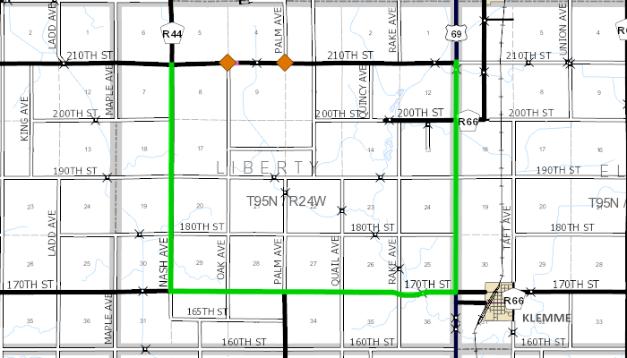 Road closing map