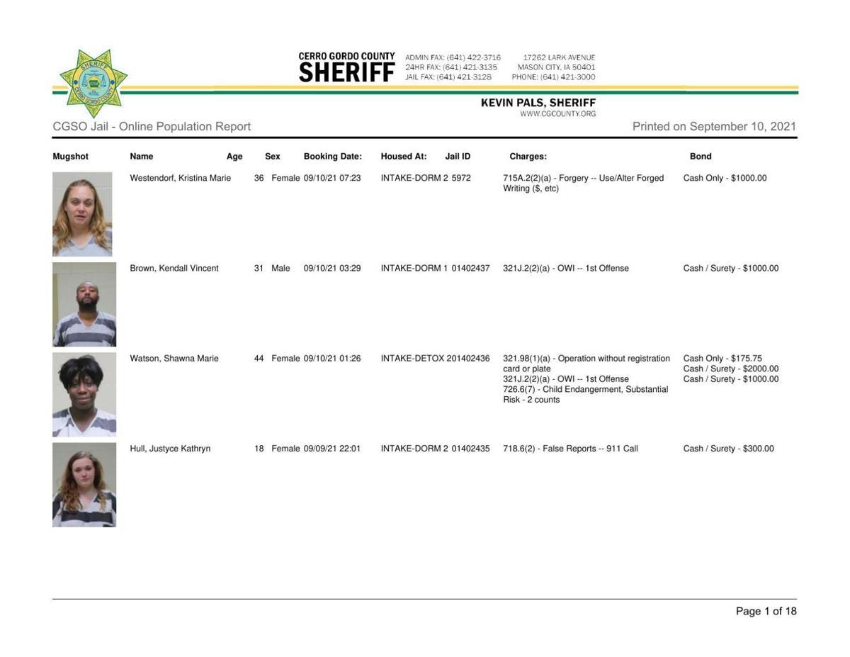 9-10 Cerro Gordo County jail inmates