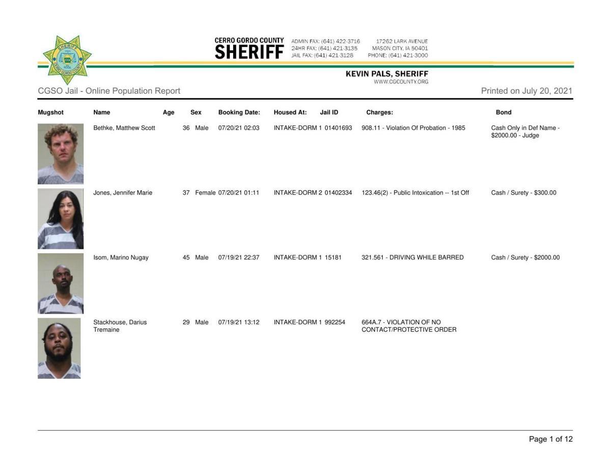 7-20 Cerro Gordo County jail inmates