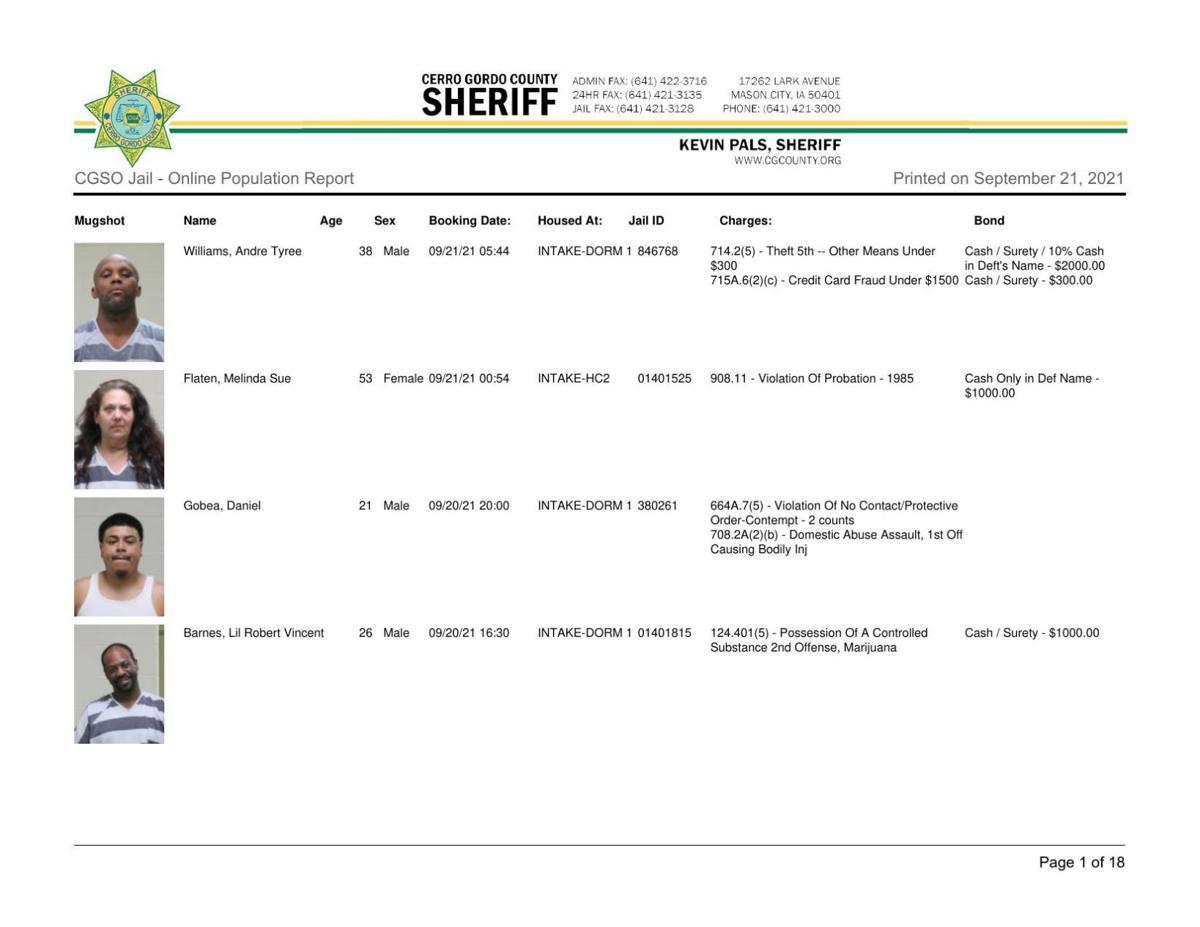 9-21 Cerro Gordo County jail inmates