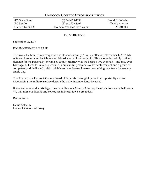 Hancock County Attorney Resignation