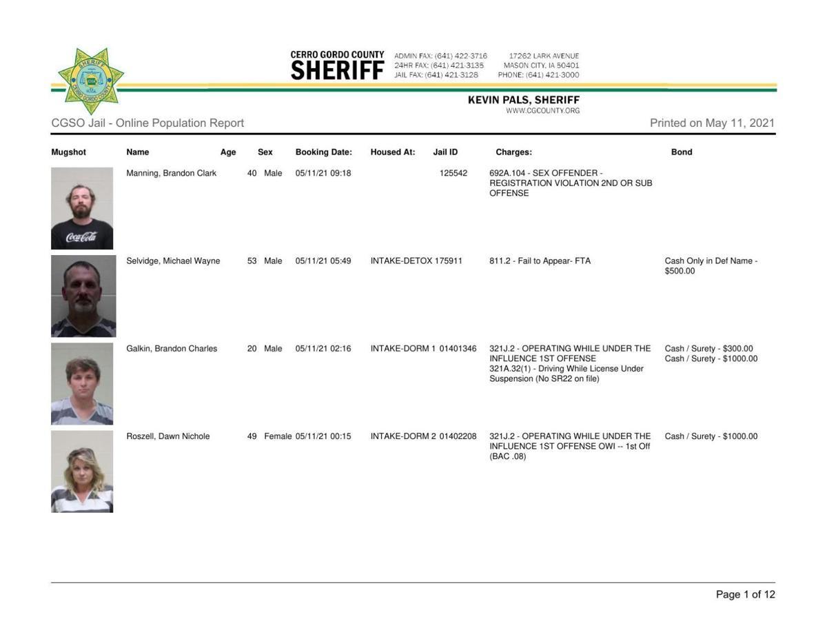 5-11 Cerro Gordo County Sheriff inmate log