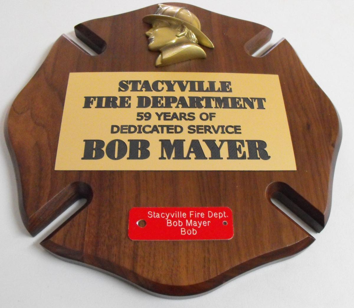 Bob Mayer fire department plaque