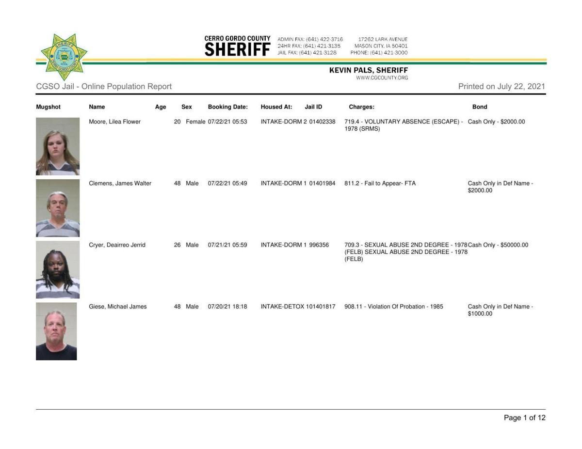 7-22 Cerro Gordo County jail inmates