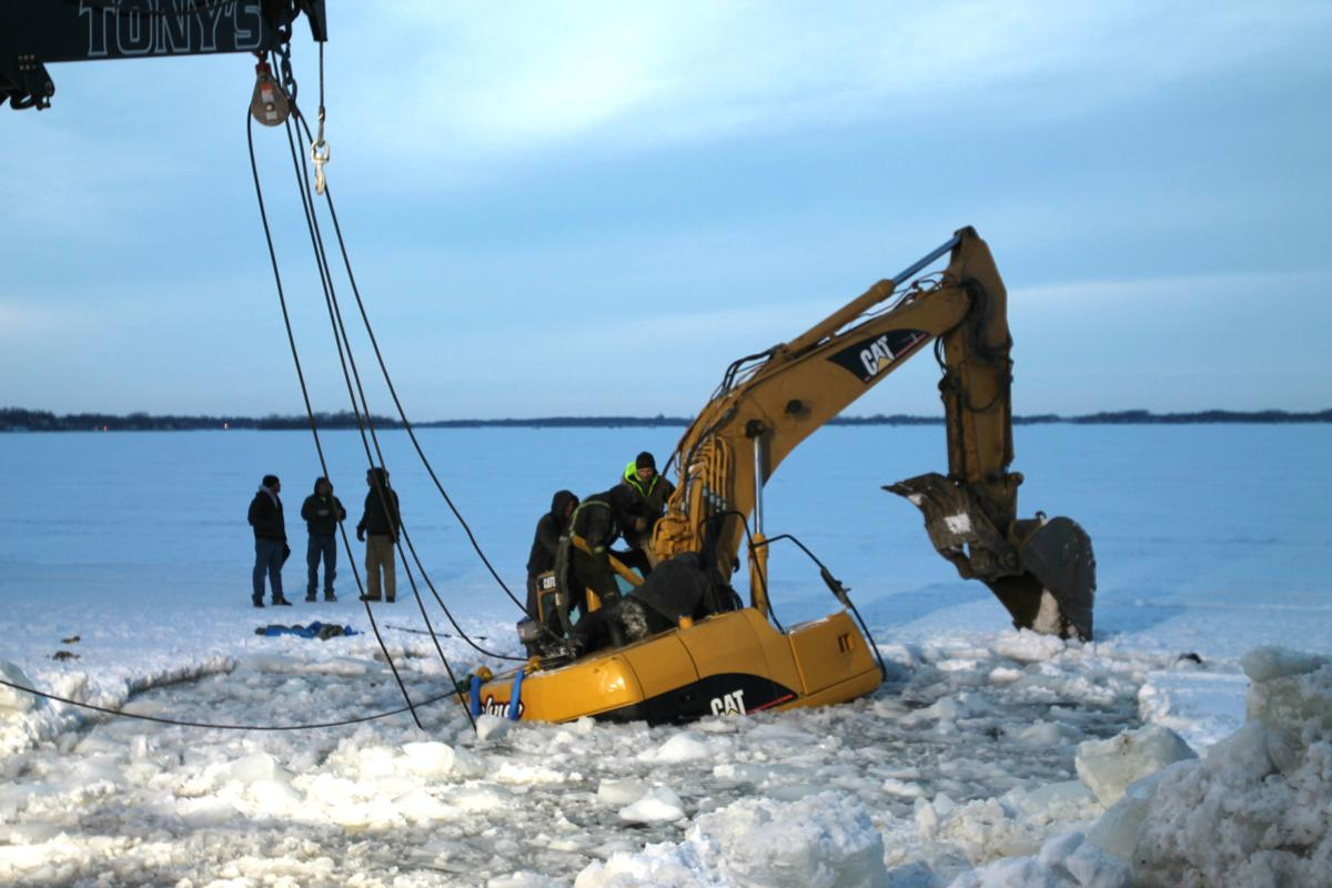 Excavator through ice