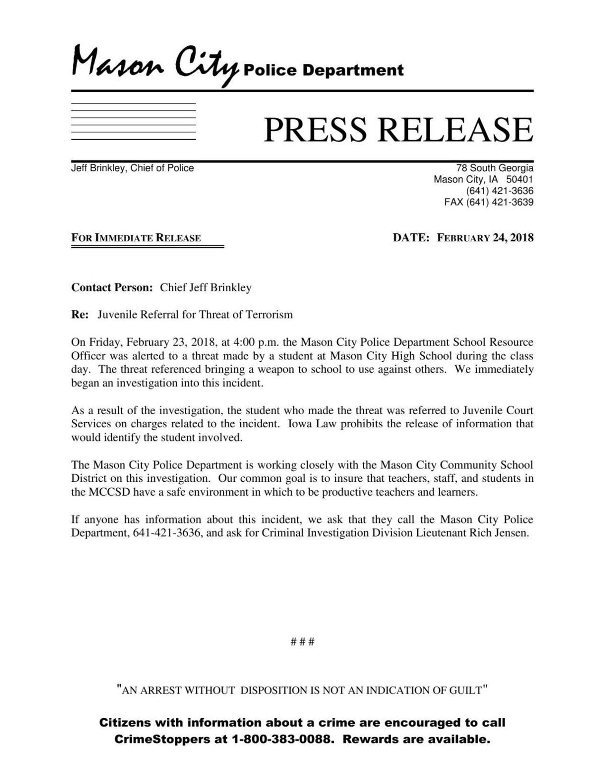 Mason City Police Department school threat press release