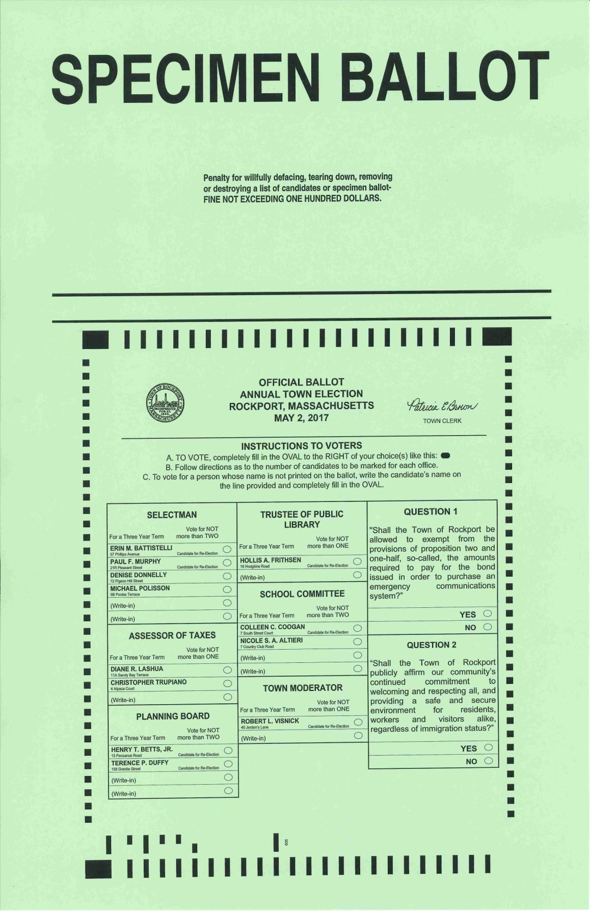 Download PDF Rockport sample ballot for May 2017 election