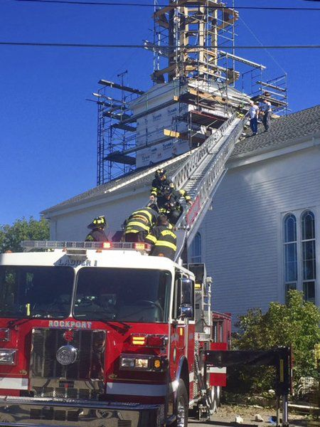 Fallen steeple worker back on the job