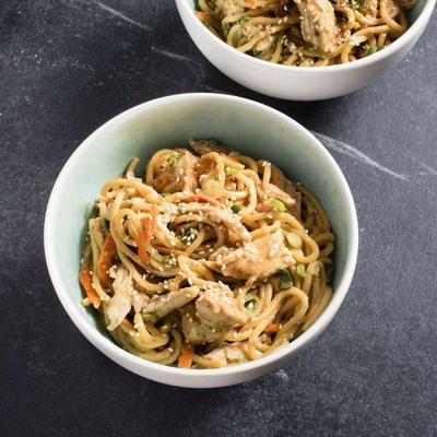 Toothsome noodles meet tender chicken in this dish