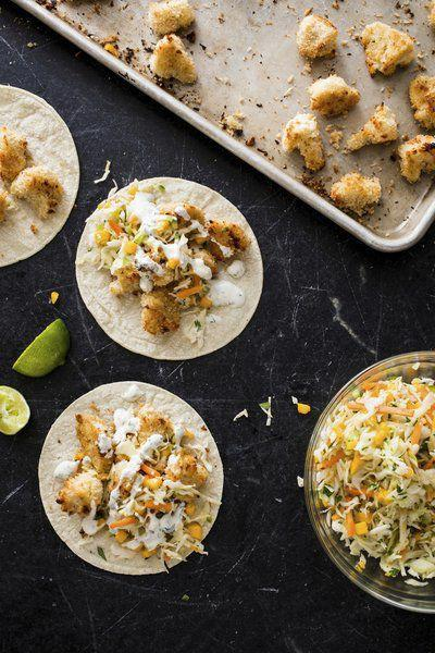 Tacos with a twist: Cauliflower stands in for fish in this Baja-style vegan dish
