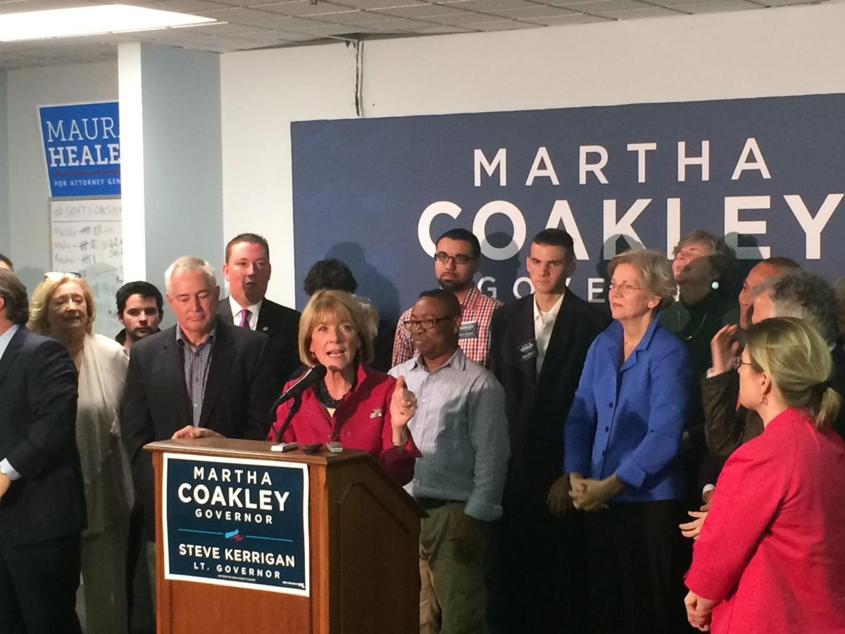 Martha Coakley announces her concession of the race for Massachusetts governor to Charlie Baker Wednesday.