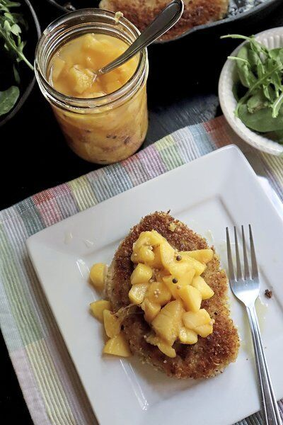 A perfect pair: pickled peaches and pork chops