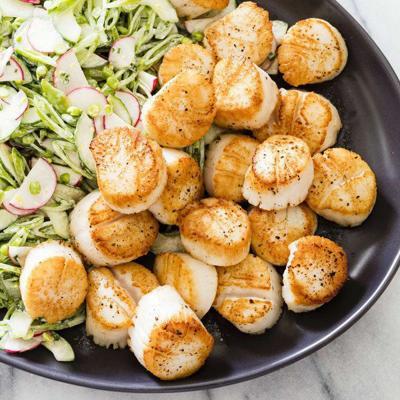 Brighten scallops with a sugar snap pea slaw