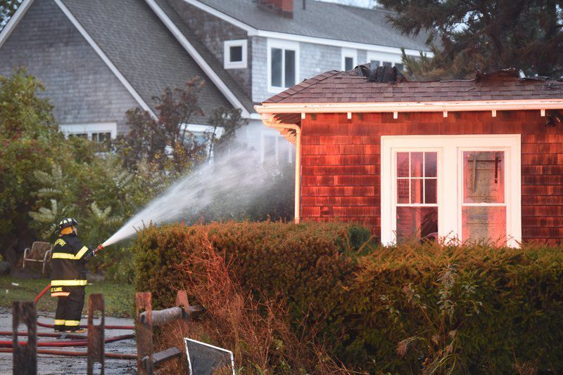 Fire destroys Rockport home, two firefighters sent to hospital