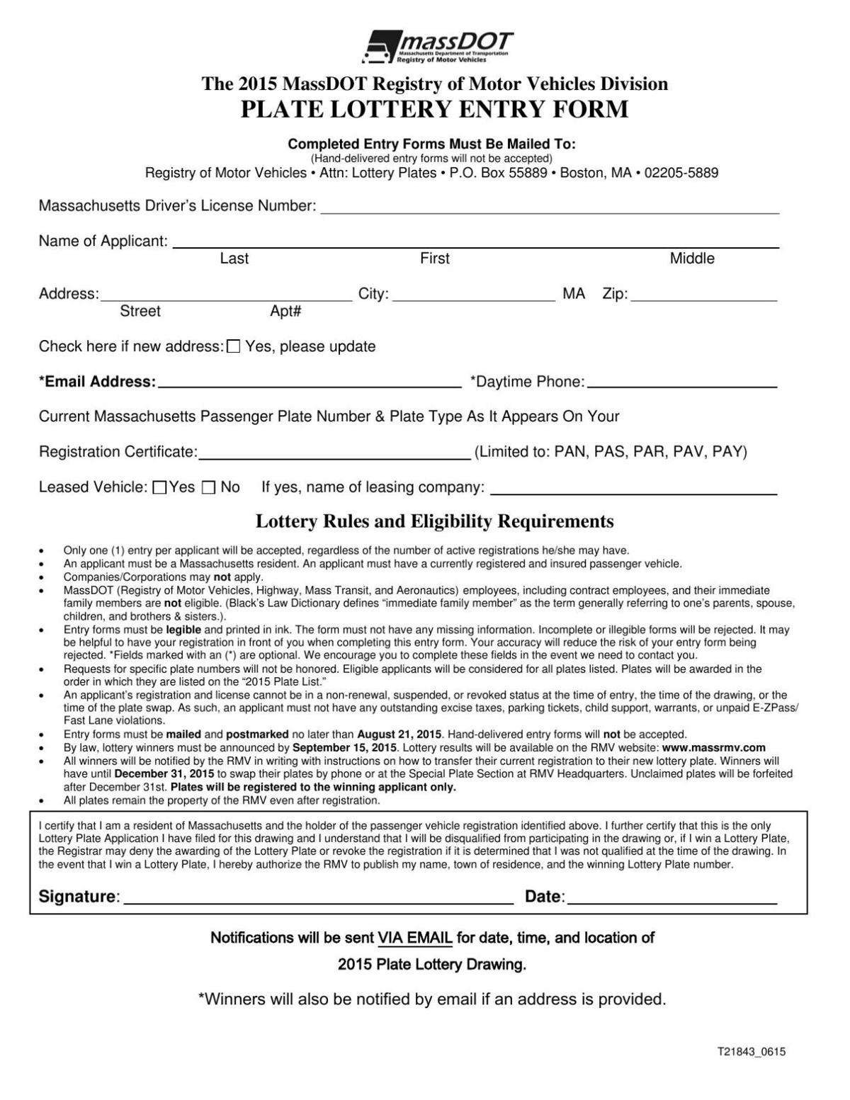 he 2015 MassDOT Registry of Motor Vehicles Division Plate Lottery Entry Form