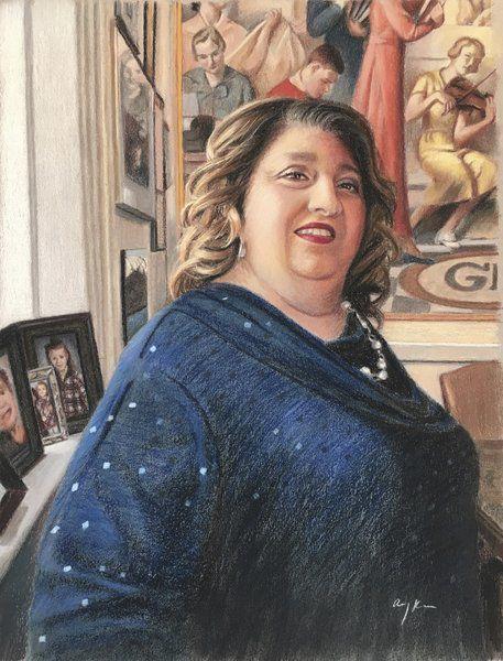 Portraits of healing hanging at City Hall