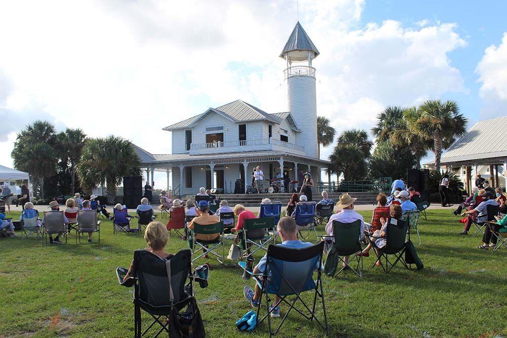 Attendees enjoy the Jordan Gilman Jazz Quartet at Mary Ross Waterfront Park in Brunswick.