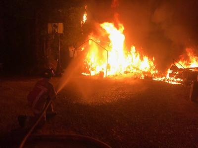 Felton Fire Teams Battle RV Fire