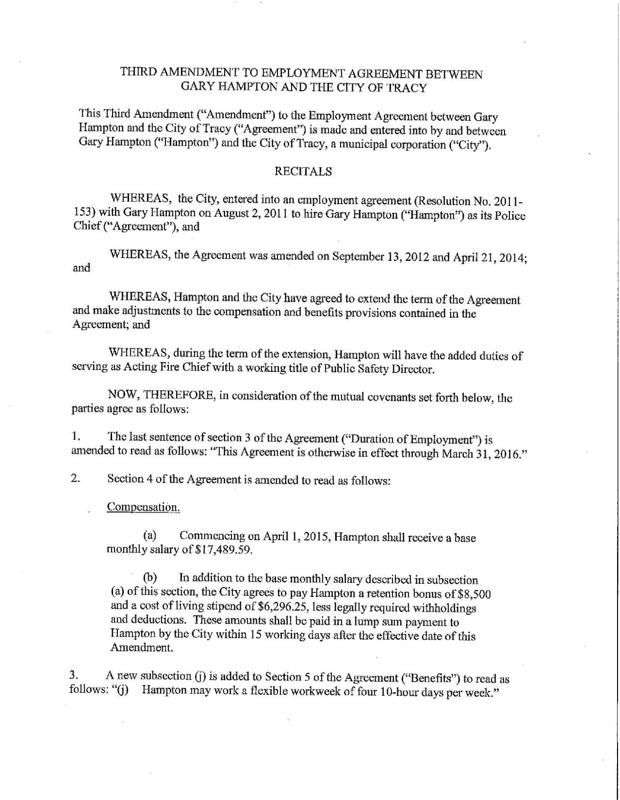 Hampton Contract Amendment Golden State Newspapers Tracy Press
