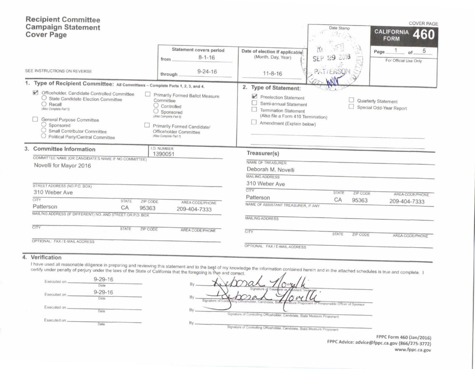 Deborah Novelli – Form 460: September 2016 - Golden State ...