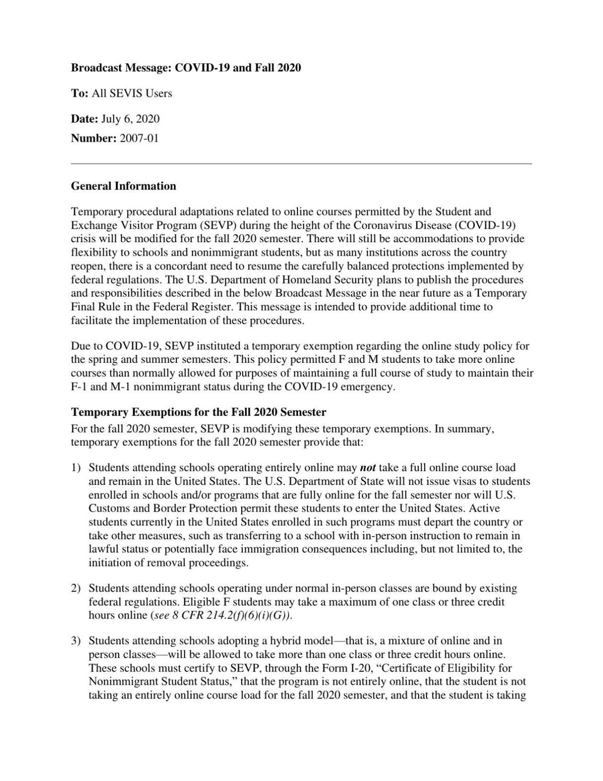 The SEVP guidelines on foreign students