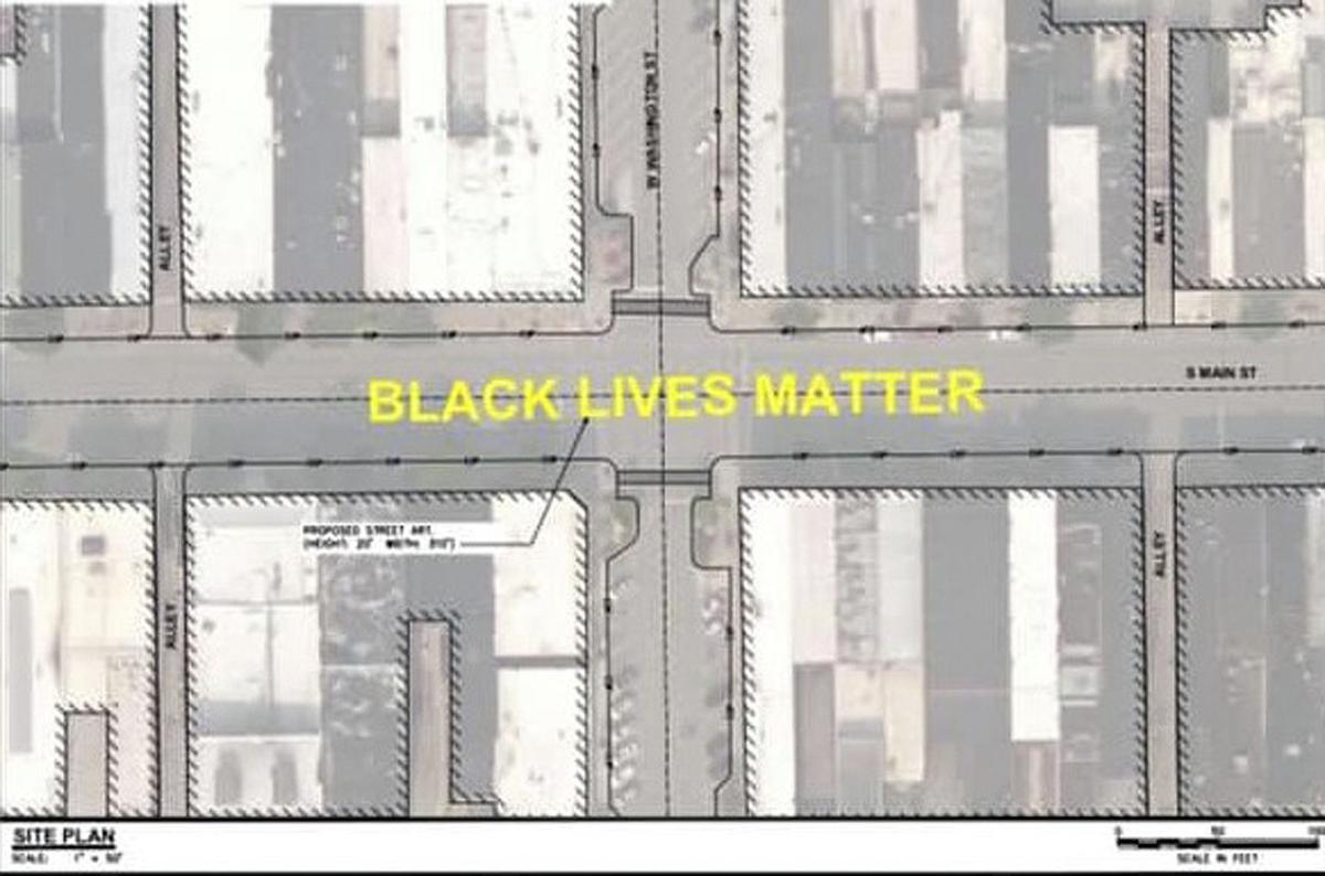 Black Lives mural drawing