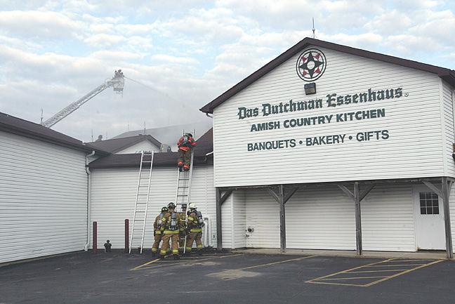 Firefighters Battle A Blaze At Das Dutchman Essenhaus In Middlebury Monday  Night.
