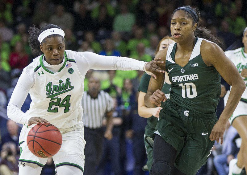 WOMEN'S BASKETBALL: No. 3 Notre Dame women rout MSU