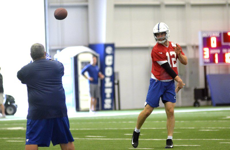 Andrew Luck practicing, but won't play this week