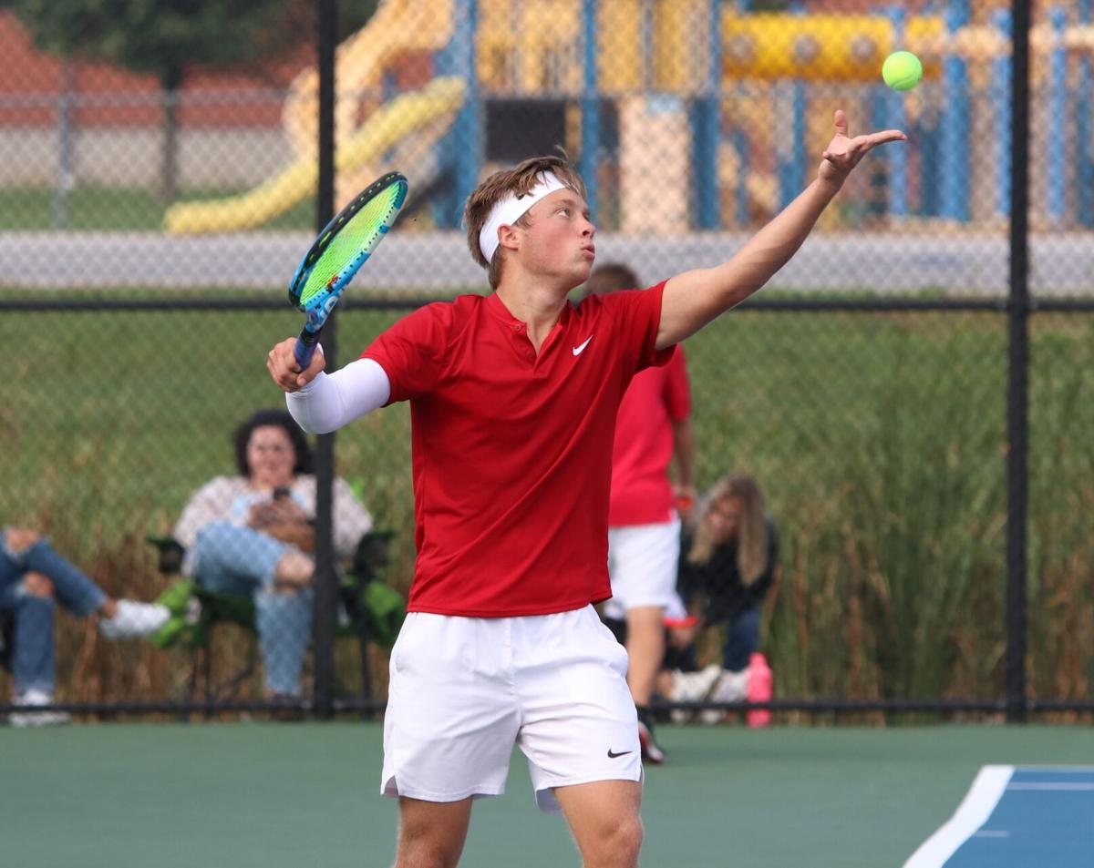 Elijah Hostetler serving Westview boys tennis semistate 10 9 2021 (copy)