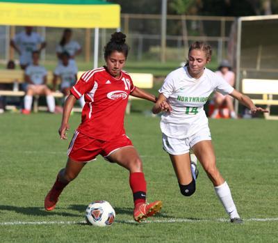 Caylin Martinez Goshen Olivia Adkins Northridge girls soccer 8 28 2021 (copy)