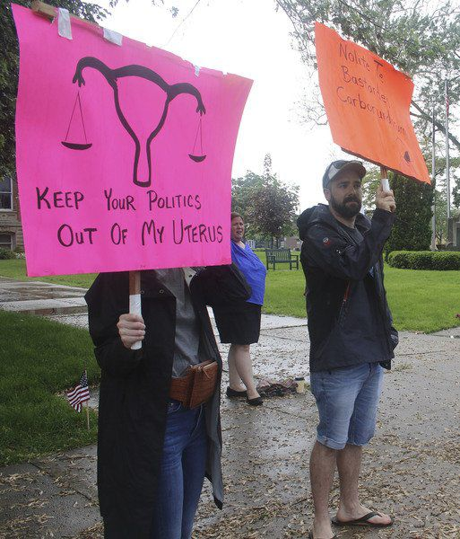 Abortion rights supporters rally at Elkhart County Courthouse