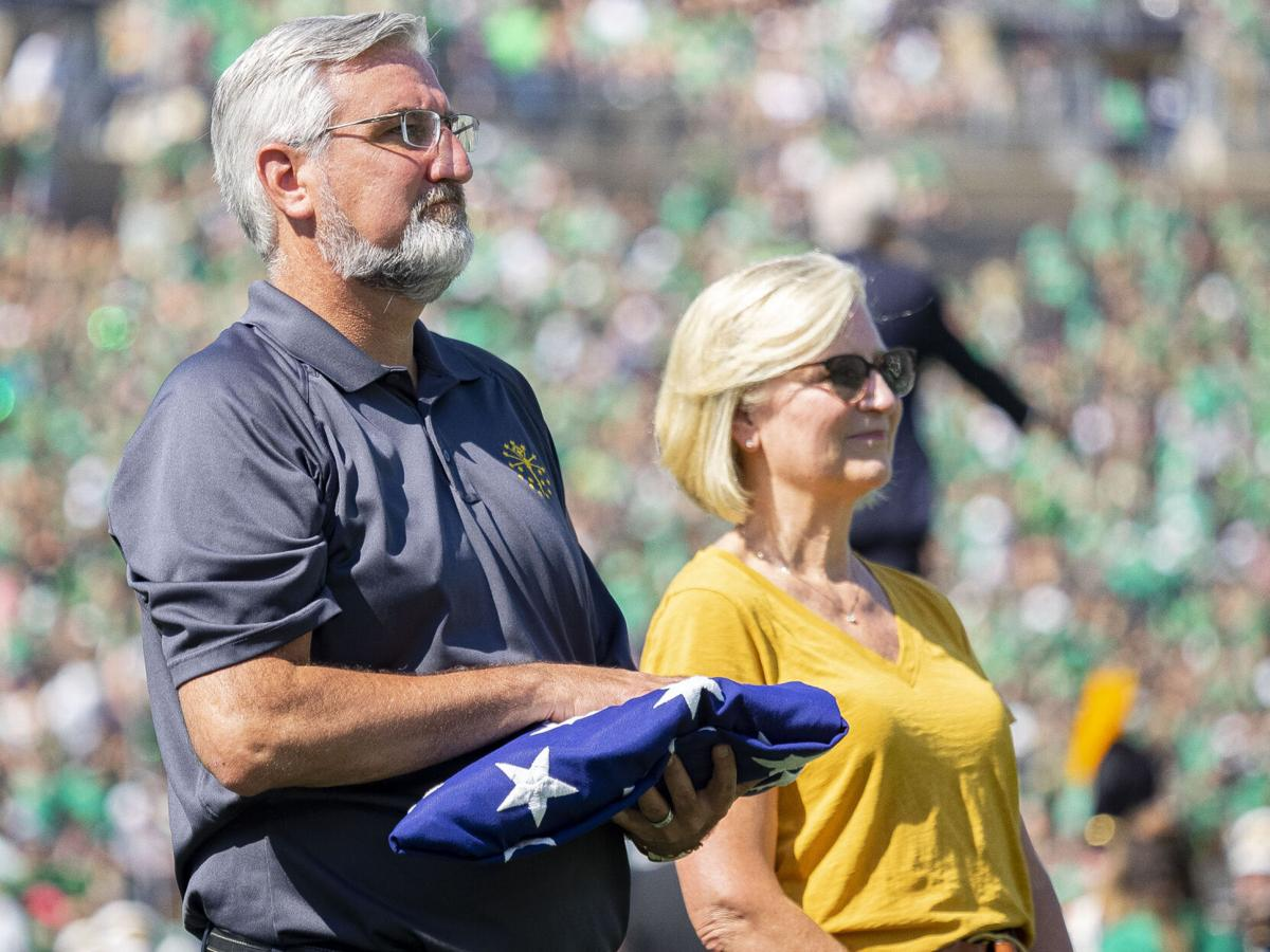 COLLEGE FOOTBALL: SEP 18 Purdue at Notre Dame - Eric Holcomb flag