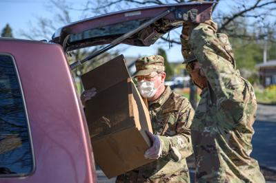 National Guard distributes food in April 2020