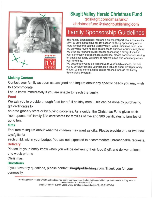 Sponsor A Family | Xmasfund | goskagit com