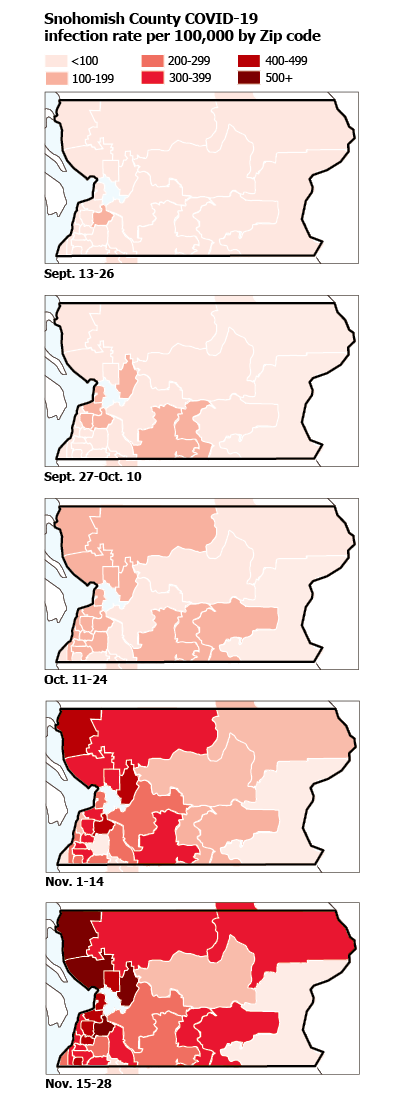 Snohomish County COVID-19  infection rate per 100,000 by Zip code
