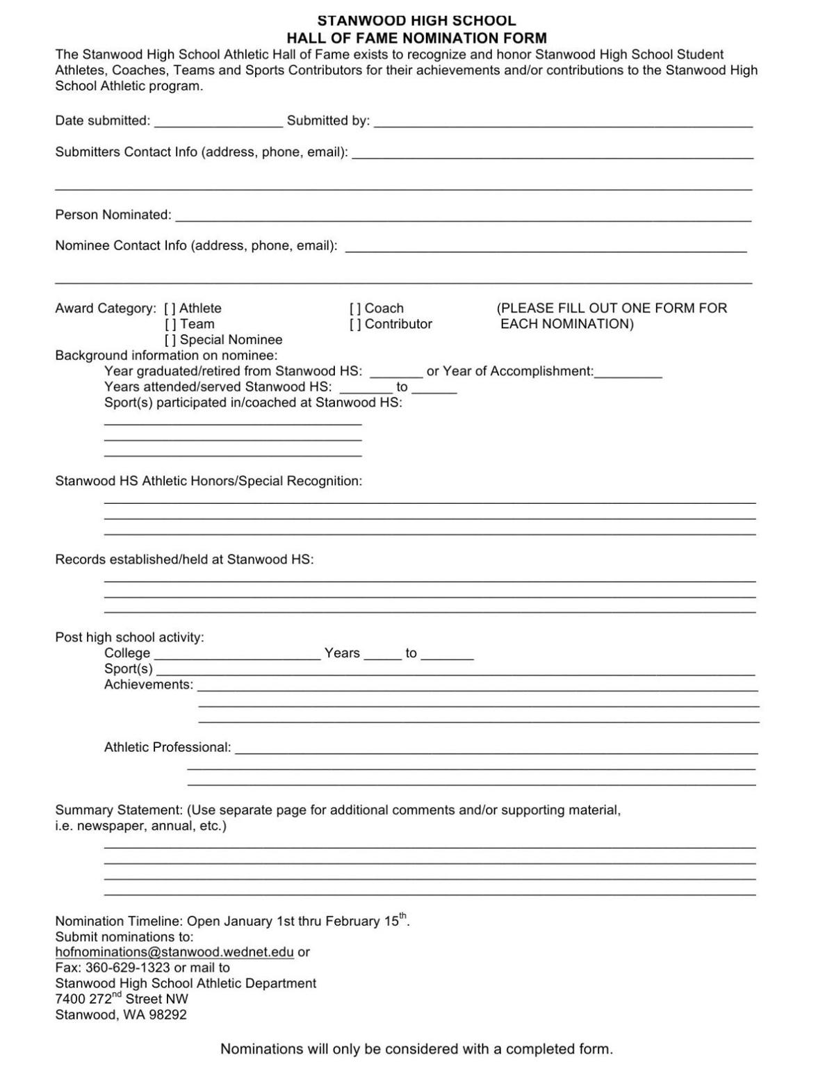 STANWOOD HIGH SCHOOL HALL OF FAME NOMINATION FORM