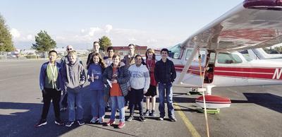 Flight museum students