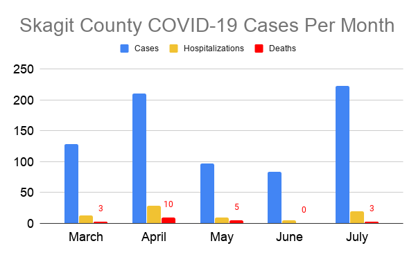 Skagit County COVID-19 cases per month