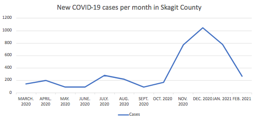 New COVID-19 cases per month in Skagit County