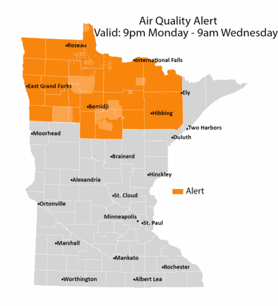 Air quality alert issued in northern Minnesota over Canadian wildfire smoke