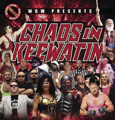 Pro wrestling set on the streets of Keewatin