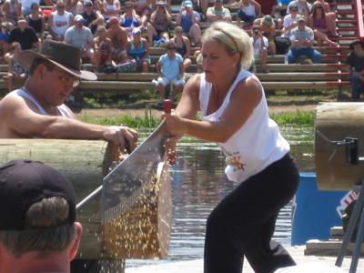 Ott takes first in women's buck-saw at Lumberjack World Championship