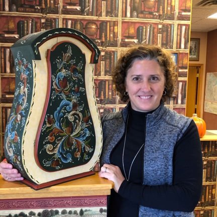Michelle Carlson and some of her rosemaling