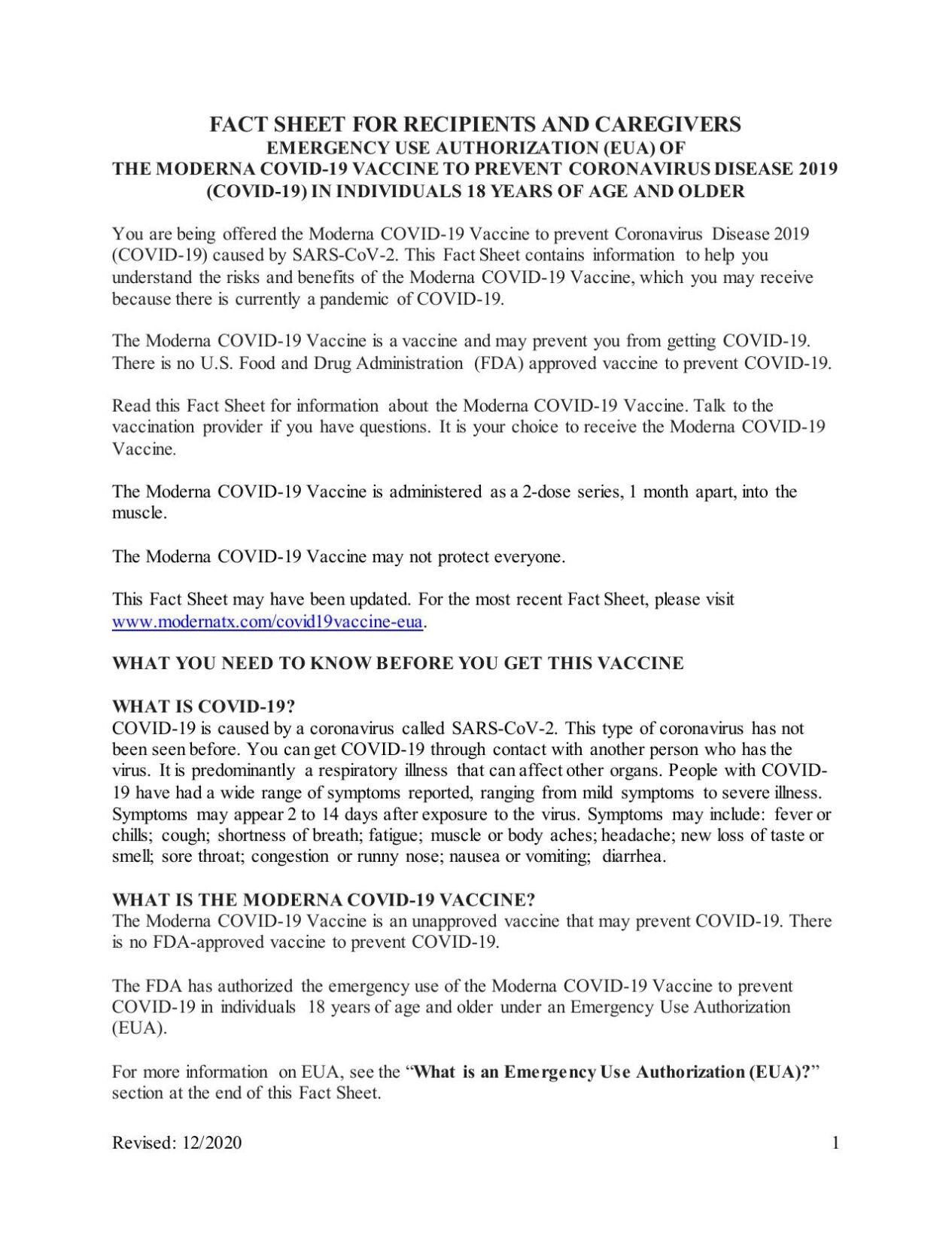 COVID vaccine authorization form