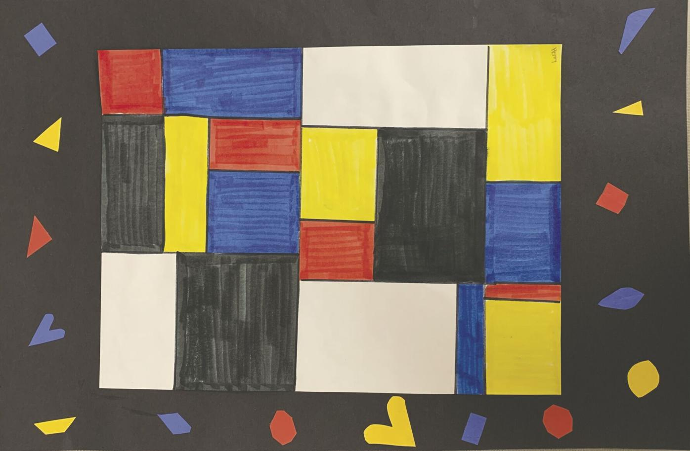 Piet Mondrian inspired artwork by Henry C. of West Rapids Elementary.