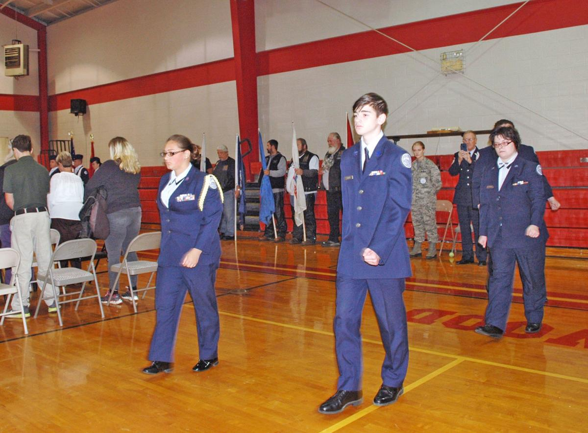 AFJROTC Students Marching