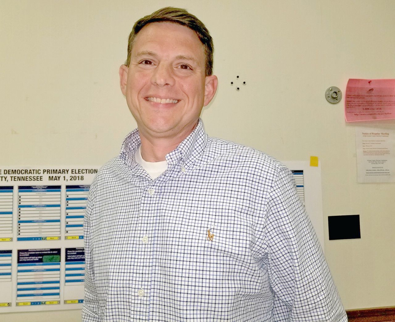 Chris Shepard Smiles After Learning He Won The Republican Primary For  Greene County Circuit Court Clerk Tuesday Night.